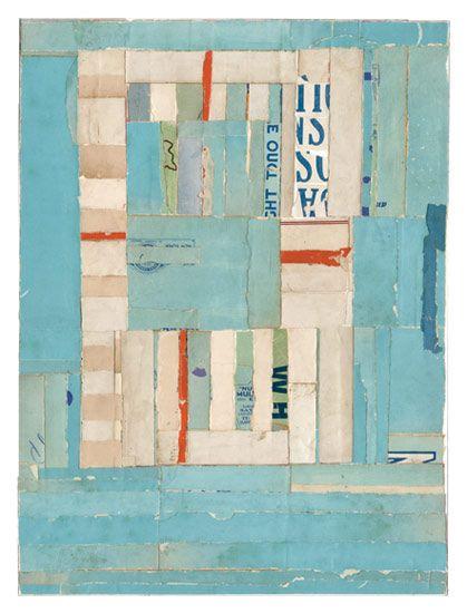 """Lisa Hochstein collage  Adrift •  9"""" x 12""""  salvaged paper"""