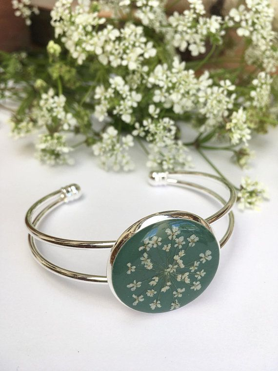 Silver Plated Bangle Bracelet Green With White Queen Annes Lace Flower Anniversary Present Gift Birthday For Her Under 20 Resin