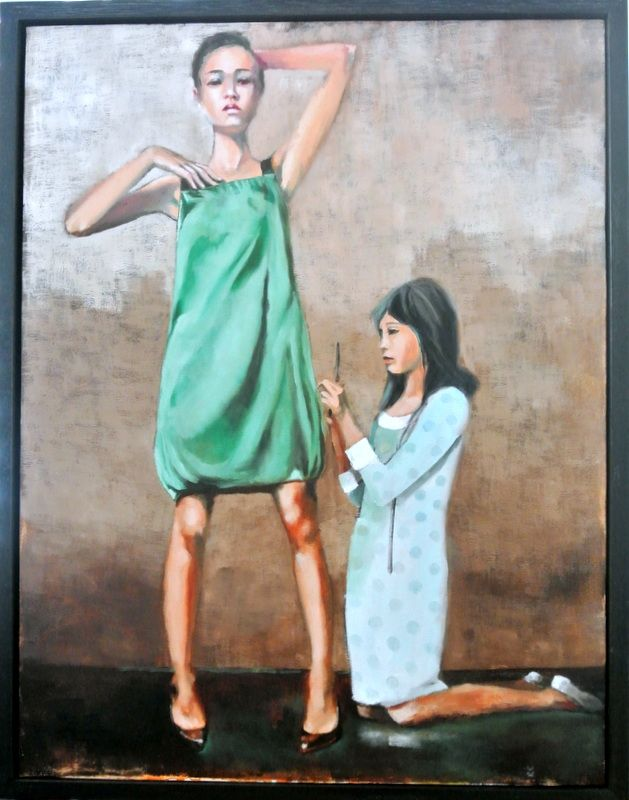The Dress Maker by Mila Posthumus, oil on canvas #art. Buy online at StateoftheART http://bit.ly/1nC3Mt7