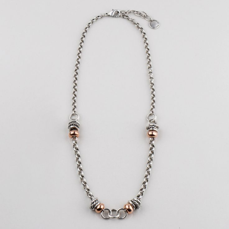 #miglio Divine Elements Necklace - Burnished silver plated and Rose Allure necklace with mixed metal beads - 50 cm N1589