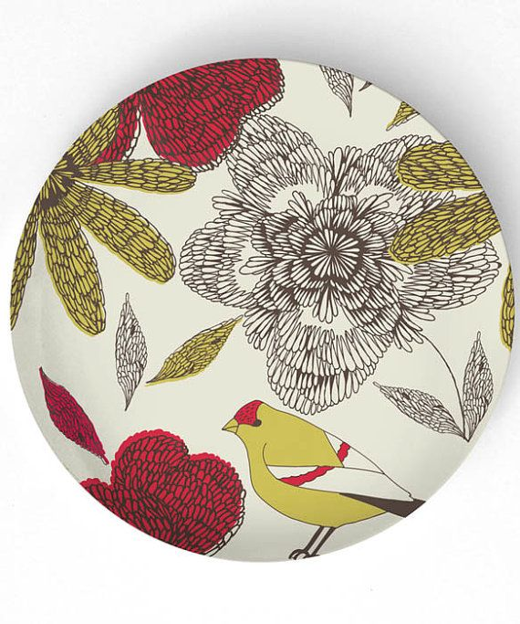 Red and Gold flowers with sweet bird - reproduced on 10 inch Melamine Plate