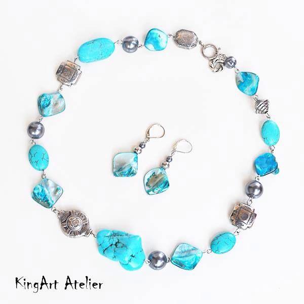 Seaside turquoise casual set by KingArt Atelier