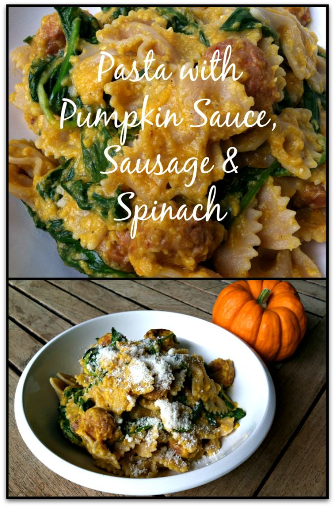 Perfect for an Easy, Fall Dinner! Pasta with Creamy Pumpkin Sauce, Sausage and Spinach #theultimateparty - Week 19
