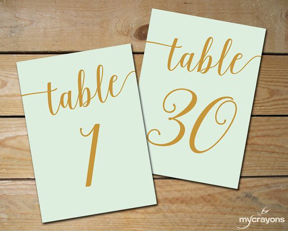 Instant Download Printable Table Numbers by MyCrayonsPapeterie, Mint and Gold Wedding, DIY Table Numbers