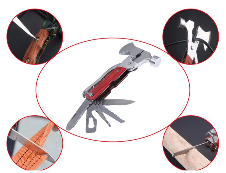 Features: - Material: Its body is made of high carbon stainless steel and its handle cover is made of redwood  - Color: Silver body and red handle cover - Weight: 380g - Length: About 6.5 inches when it is closed - Integration design: This multifunction tool includes axe, hammer, knife, sawtooth, opener, screwdriver and pliers etc. - It has lightweight carry case with belt loop - Applicable to outdoor use and daily life
