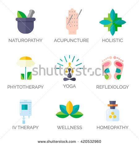 Alternative Medicine icons.  Modern flat style. Holistic center, naturopathic medicine, homeopathy, acupuncture, ayurveda, chinese medicine, womans health. For web site, print design, business card.