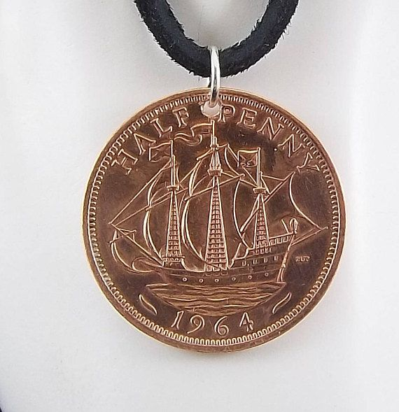 Boat Coin Necklace England 1/2 Penny Coin Pendant Leather