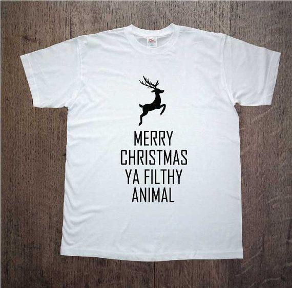 Christmas shirt!Merry Christmas Ya Filthy Animal! Mens clothing! Christmas gift