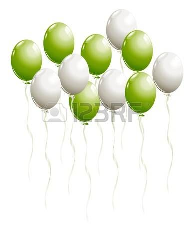 Flying balloons in white and green photo