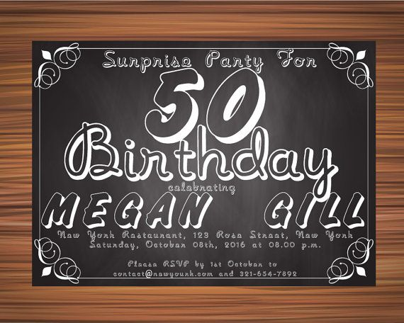 SURPRISE 40th BIRTHDAY INVITATION Chalkboard by UniqueGoldenCards
