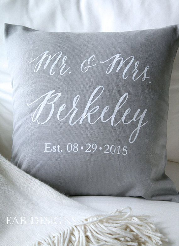 Personalized Wedding Pillow, Mr. and Mrs. Pillow Cover, Wedding Pillow Cover, Cotton Anniversary, Gray Pillow Cover, White Text