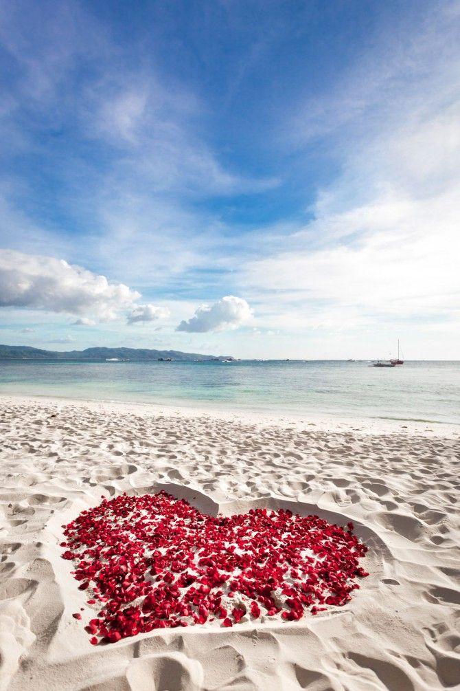 Outdoor Proposal Inspiration: Beach Hearts Proposal