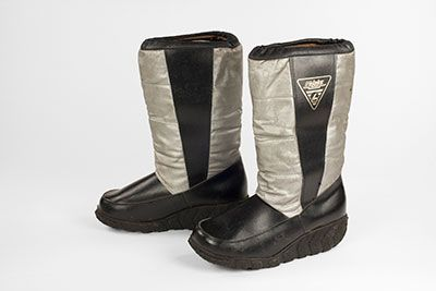 Irena's Relaks boots worn in communist Poland in the '80's to stand in line outside the empty stores! Modeled on Neil Armstorng's moon boots. Now becoming camp.