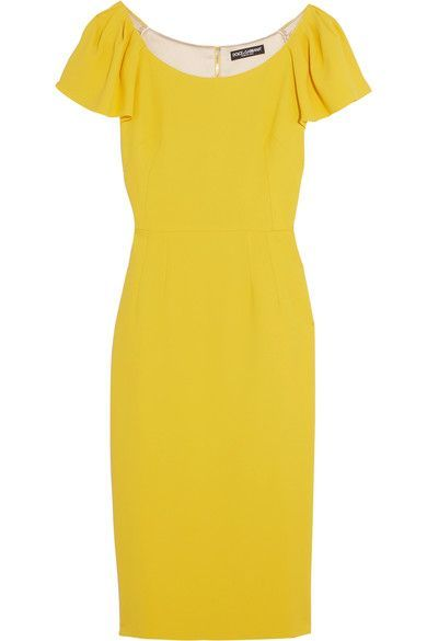 Bright-yellow crepe  Hook and concealed zip fastening at back  51% viscose, 46% acetate, 3% elastane; lining: 94% silk, 6% elastane Dry clean  Made in Italy