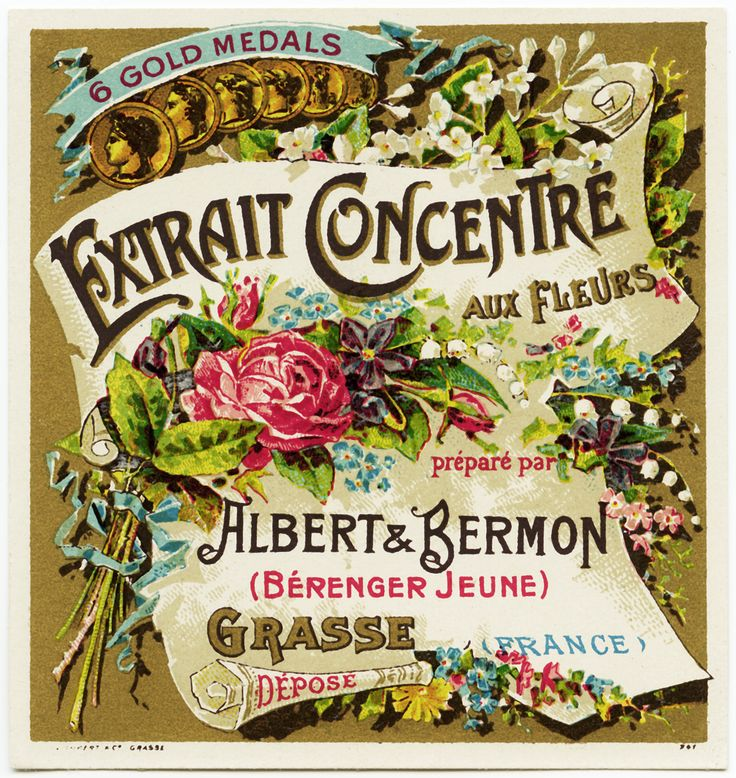 Old Design Shop ~ free digital image: vintage Albert & Bermon Extrait Concentre aux Fleurs French label