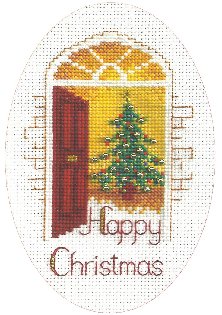 Derwentwater cross stitch Christmas card
