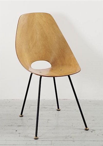 """Vittorio Nobili """"Medea"""" chair, ca. 1955, Molded plywood, painted brass, brass. Manufactured by Tagliabue, Italy"""