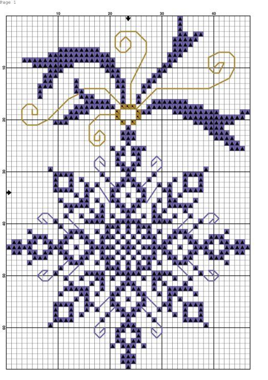fiocco di neve elegante natale punto croce monocolore
