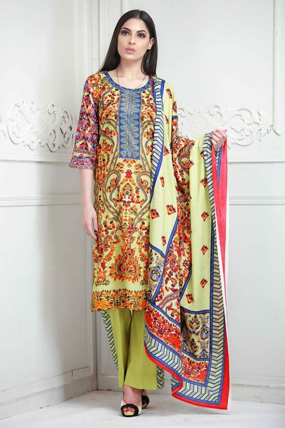 Lime-Green-Color-Lala-Collection-Lawn-Print-Dress-for-Women