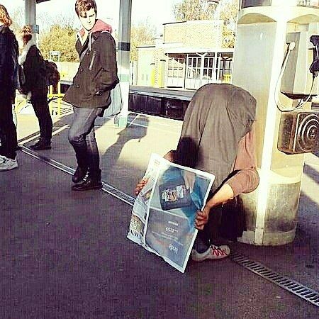 If you feel you're getting too much attention doing yoga/ stretching in public you could always pretend to do something more normal like read a newspaper.  Worked a treat!  One of the few times I read the news (or pretended to) in the last 4 years.  #yoga #stretch #asana #read #yoganywhere #yogainspiration #yogaoffthemat #yogaonthetrain #yogaeverywhere #veganyoga #veganyogi #bend #newspaper #veganyogateacher #hamstringstretch #utkatasana #forwardfold #dailytelegraph #station #platform