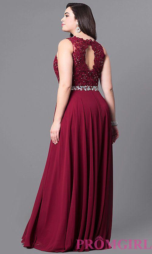 Image of plus-size long evening dress with lace bodice. Style: NA-8270P Back Image