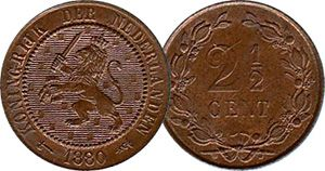 Netherlands 2 1/2 Cents (with Lion) 1888
