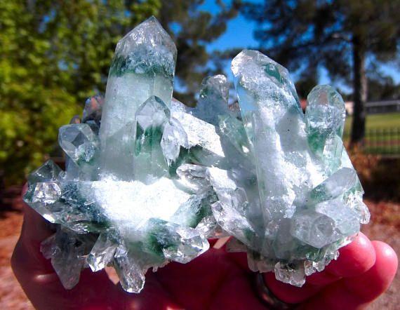 Zöld Phantom Quartz Klaszter - Zöld Phantom Quartz, zöld Phantom, kvarc, kristályok, kristályos Cluster, Ritka Crystals, ásványok, drágakövek
