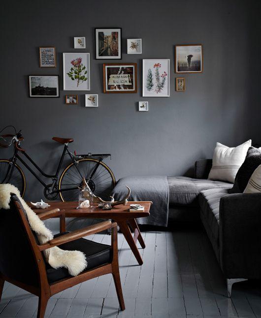 Living room- clean lines, grey wall, minimalist