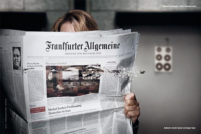 "Tatort Tageszeitung: Maria Furtwängler alias Tatort-Kommissarin Charlotte Lindholm als ""Kluger Kopf"". © Frankfurter Allgemeine Zeitung (FAZ) http://www.faz.net"