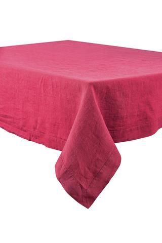 Harmony - Nappe en lin lavé Nais rose framboisine
