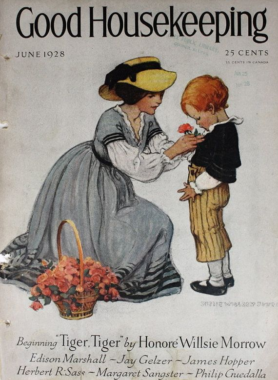 Vintage Magazine Cover Illustration / 1920s Good Housekeeping / Mother and Son / Mother's Day / Wall Art / Home Decor / Art Print