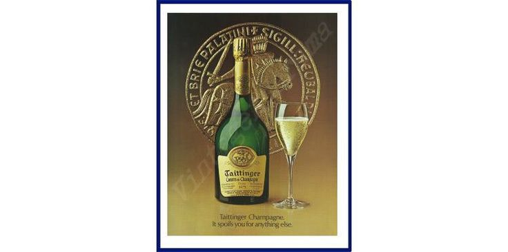 """TAITTINGER CHAMPAGNE Original 1987 Vintage Color Print Ad - """"It Spoils You For Anything Else."""" by VintageAdarama on Etsy"""