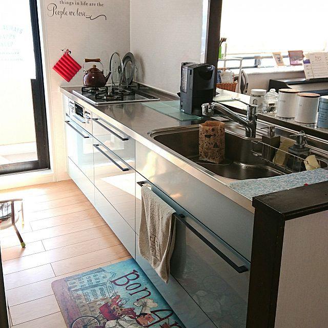 キッチン クリナップ ブルーグレーの鏡面がお気に入り 水や油を