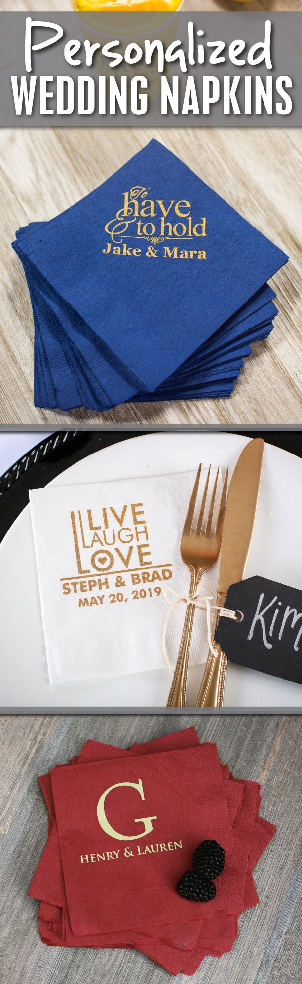 Add an elegant touch to your wedding with our personalized wedding #napkins!  Submit your own artwork or choose from our library of stock wedding artwork designs to personalize for your wedding!  Your options are endless as we offer a variety of styles, sizes & colors of napkins to coordinate and compliment any wedding!