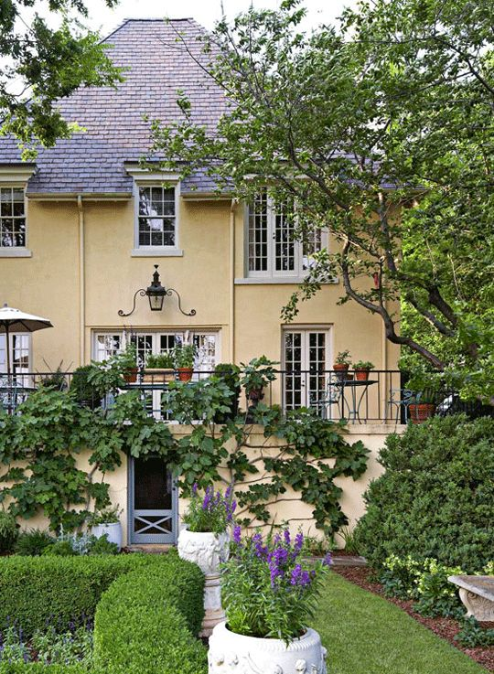 French Garden in a Southern Setting - Traditional Home®beautiful lantern, windows and screen door