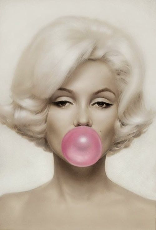 VINTAGE PHOTOGRAPHY: Marilyn Monroe I love the sephia tone of this image with the bubble gum in color. Its a classic timeless image.