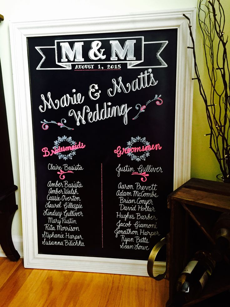 """This custom chalkboard """"program"""" was one of the many personal touches that made this wedding ceremony special #chalkbyjulie #chalkboardsbyjulie"""