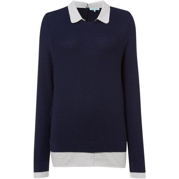 Dickins & Jones Collar and Cuff Jumper ($70) ❤ liked on Polyvore featuring tops, sweaters, navy, women, blue shirt, navy blue shirt, woven shirt, navy blue tops and collared sweater