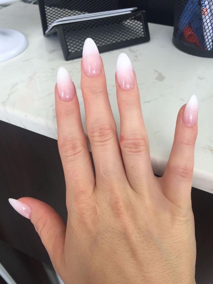 French ombré almond shaped #nailsacrylicalmond | Faded ...