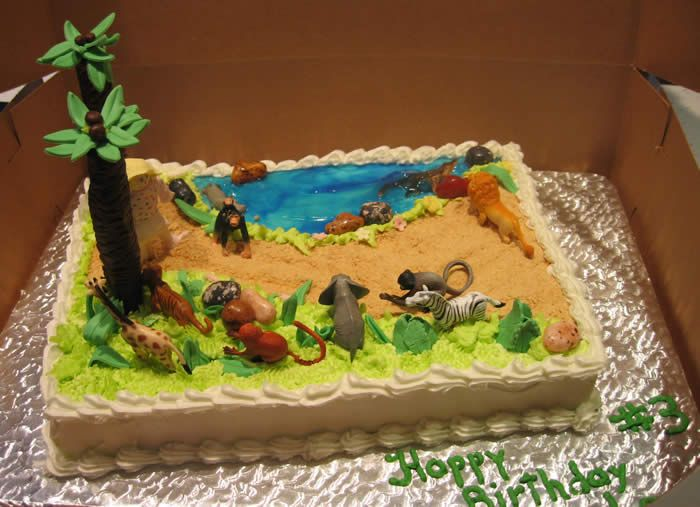 Jungle Animals Sheet Cake