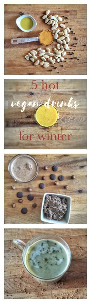 5 hot vegan drinks for winter : Chaï Latte, Golden Latte, Matcha Latte, French hot chocolate... #vegan #winter #drinks