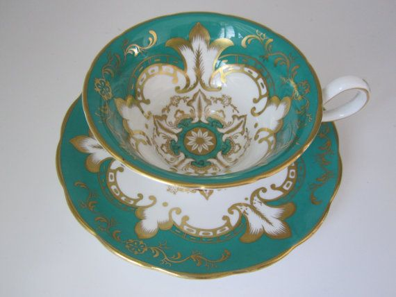 vintage Royal Chelsea styled teal green tea cup and saucer by Grosvenor, Grosvenor tea cup & saucer, Bone China cup and saucer