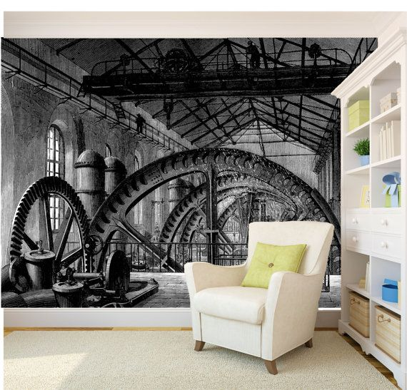 Steam Punk Factory wallpaper/ mural by InspiredWallDesigns on Etsy