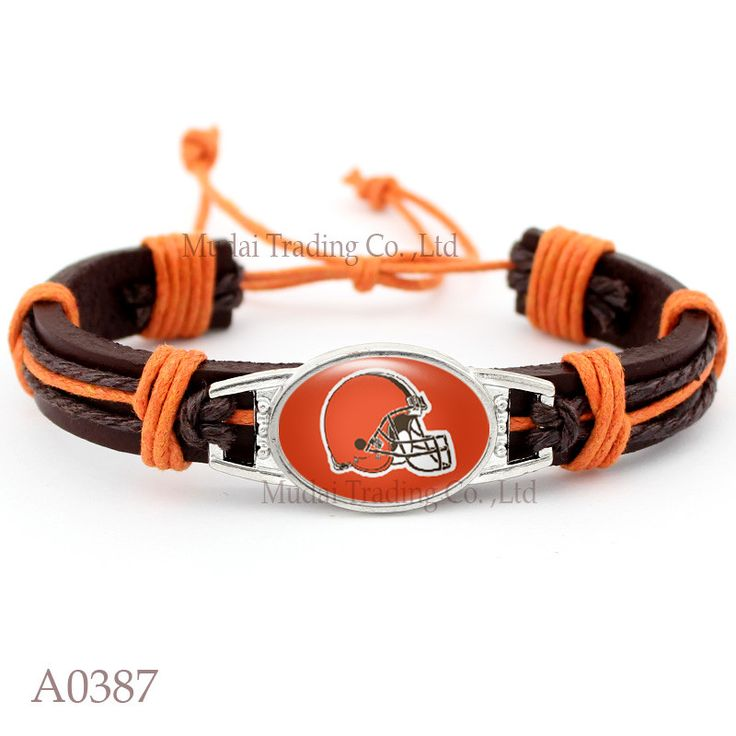 Cleveland Browns Football Leather Cuff Bracelet