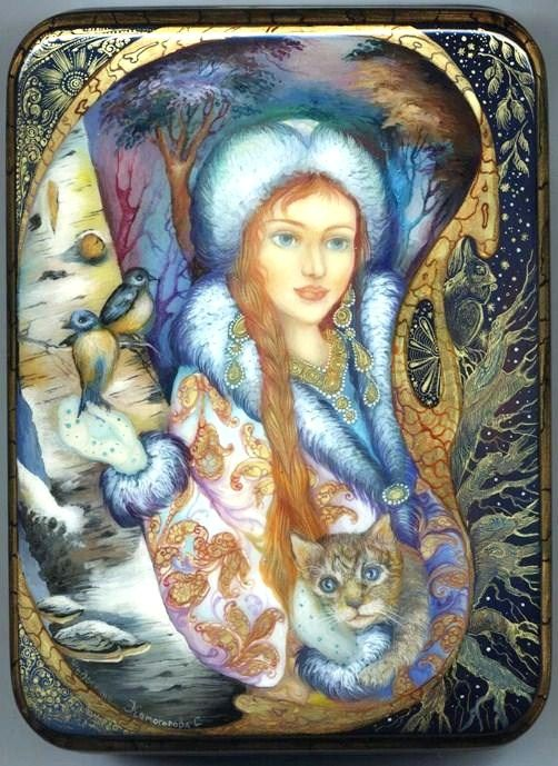 Russian lacquer miniature from the village of Fedoskino. Snegurochka (Snow Maiden) with her forest friends.