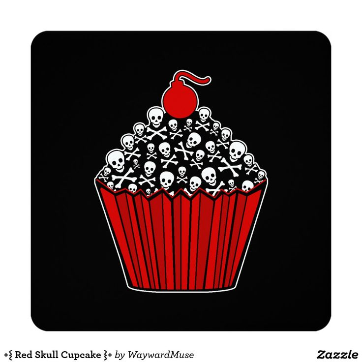 +{ Red Skull Cupcake }+ Invitations ~ These invites are fun and easy to customize your you own text.