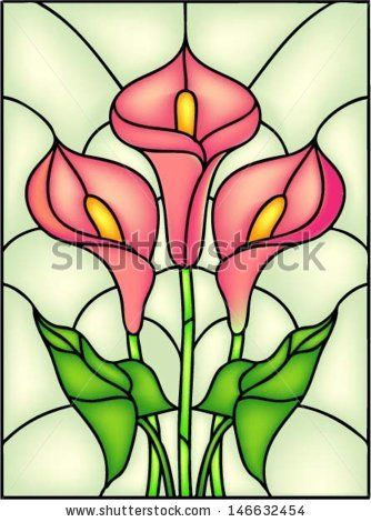 Red Calla lily vector illustration in stained glass window