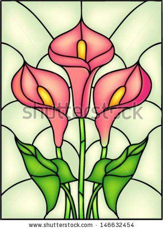 Витражи с цветами рисунок