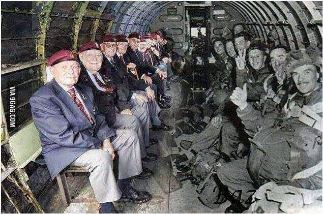 Paratroopers sitting in the plane they flew in on D-day. (1944-2011)