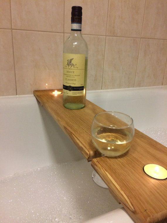 Hardwood Wooden Bath Caddy Bath Shelf Wine By CountryTouchesUK
